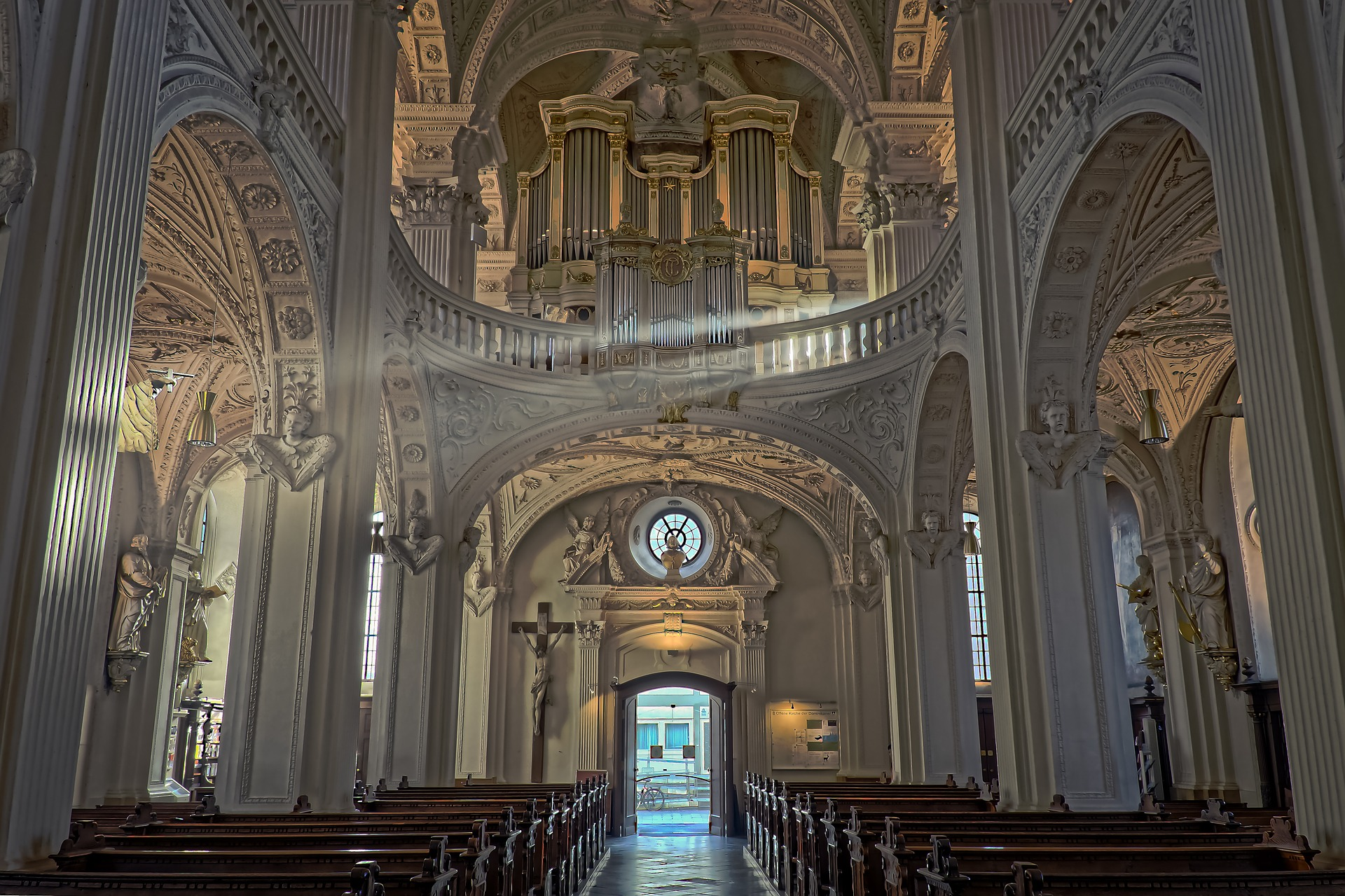 Inside of a large church