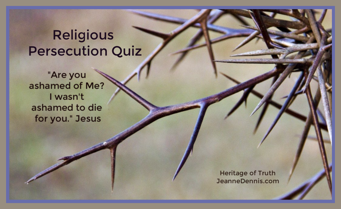 "Religious Persecution Quiz ""Are you ashamed of Me? I wasn't ashamed to die for you."" Jesus, Heritage of Truth, jeannedennis.com"