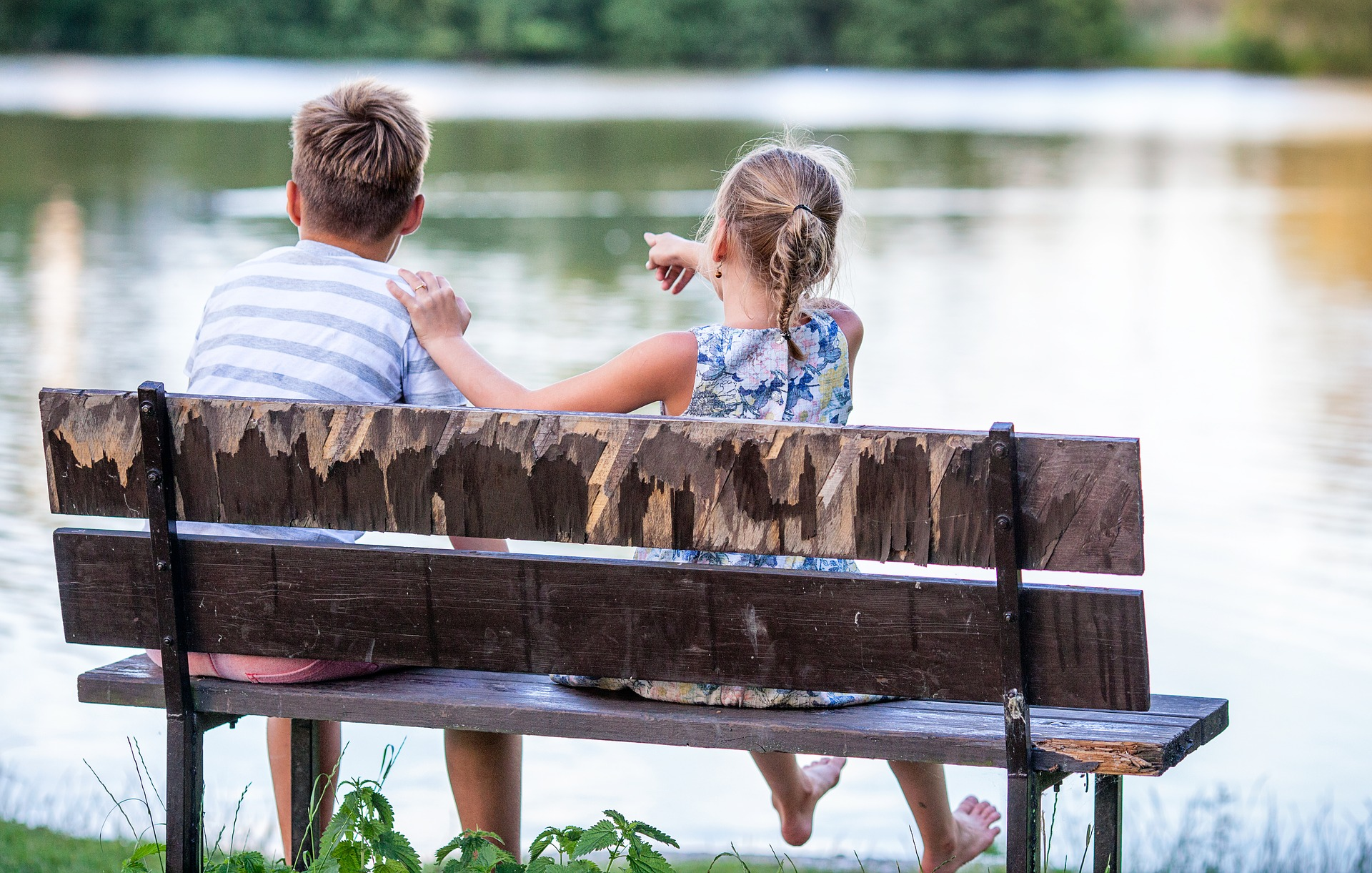 children on bench