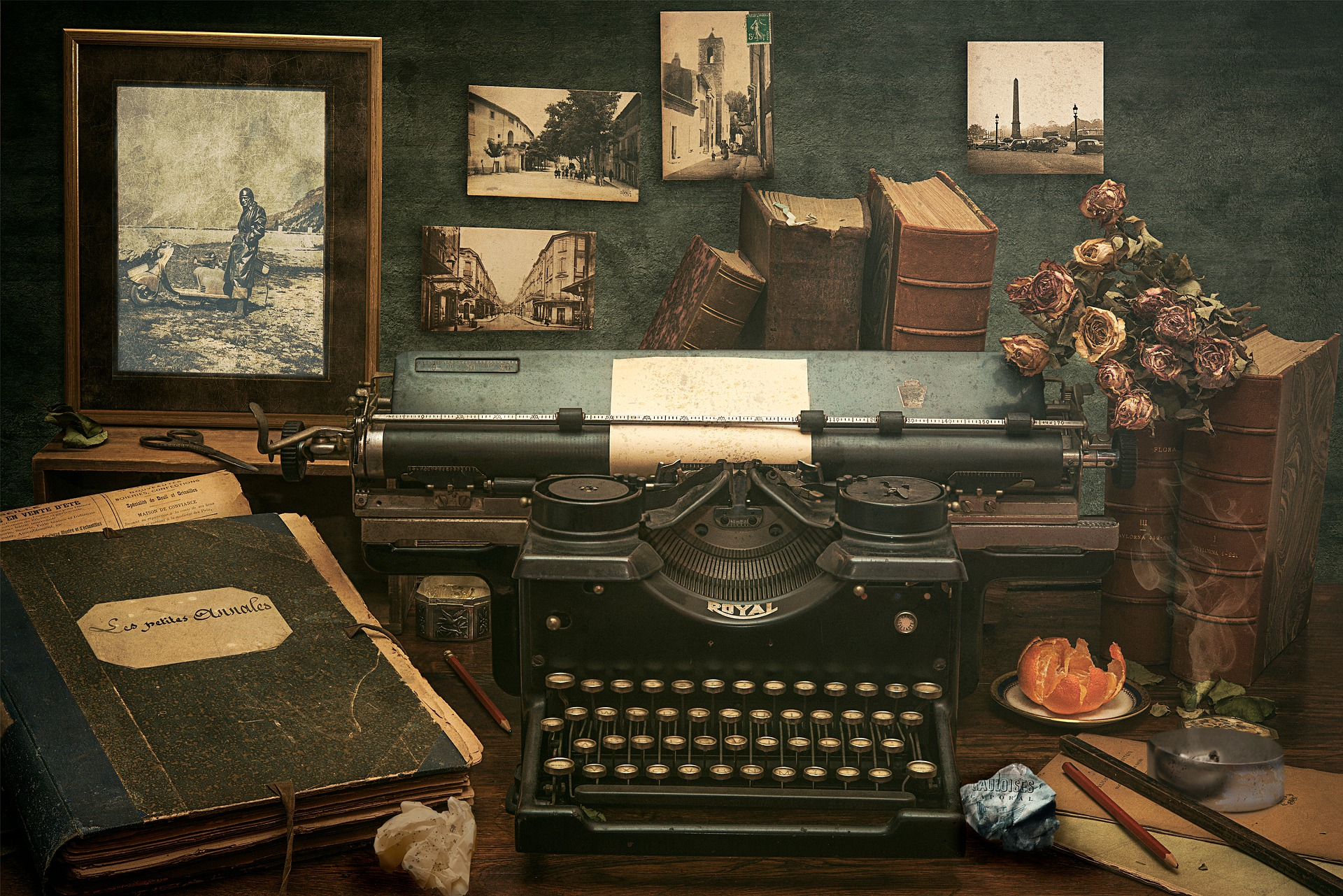 Writer's office with old typewriter