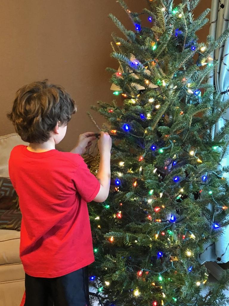 boy hanging homemade Christmas ornament