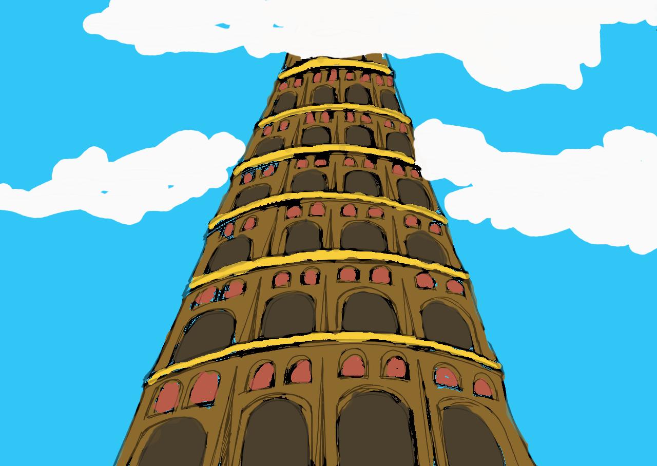Cartoon of Tower of Babel