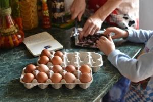 family preparing food, eggs, chocolate