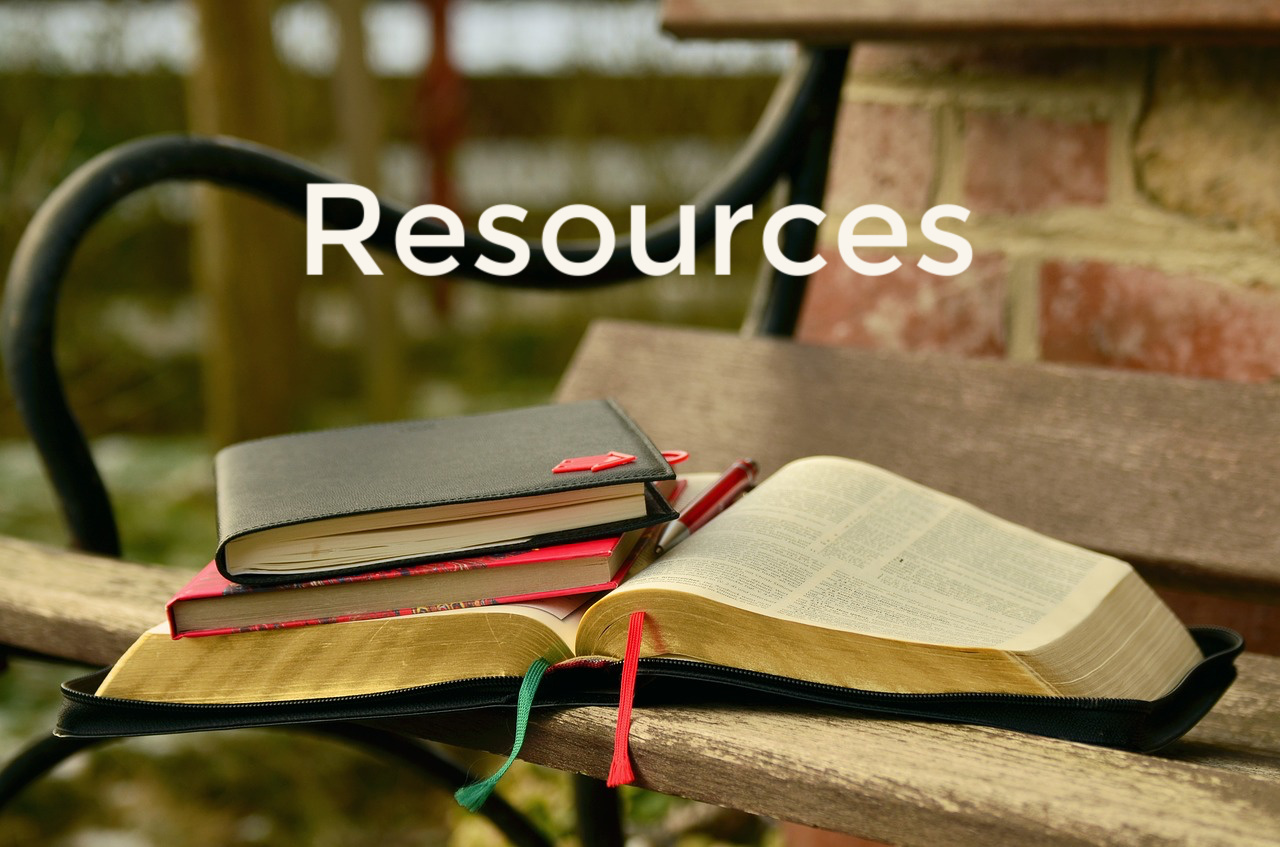 Resources, Bible and other books on bench