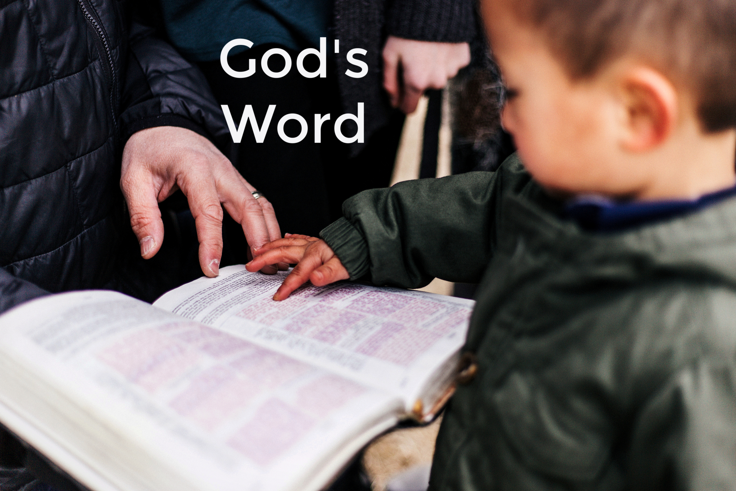 God's Word, little boy touching Bible held by older man