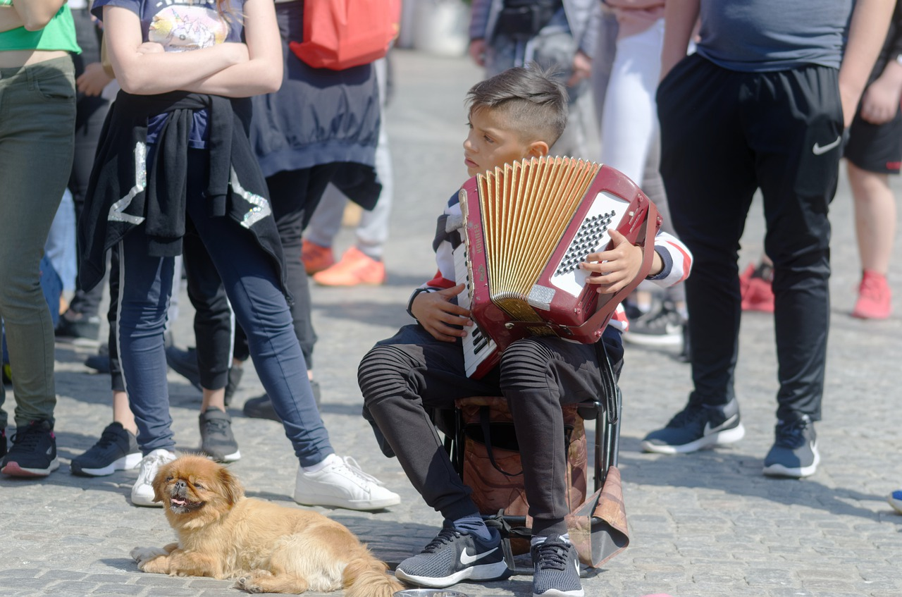 Did You Hear That? child playing accordion in crowd with dog at his feet